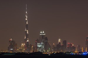 Night cityscape of Dubai city, UAE