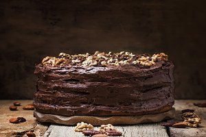 Homemade chocolate cake with nuts, r