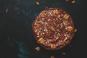 Chocolate cake with nuts, black back