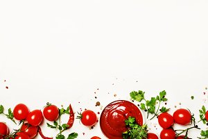 Tomato ketchup sauce with spices and