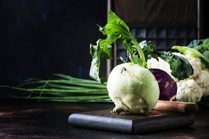 Green kohlrabi cabbage, brown backgr