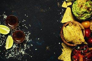 Mexican Food, Nachos, Guacamole, Sal
