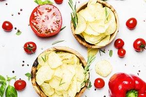 Unhealthy food background, potato ch