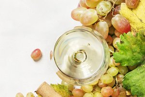 Dry white wine in glass and bottle,