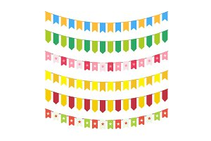 Vector flag garlands for invitation