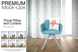 Throw Pillow & Curtains Mockup Set