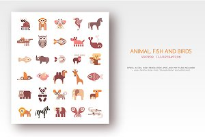 3 Animals, Fish and Birds icon sets