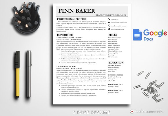 Modern Resume Template Google Docs Creative Daddy