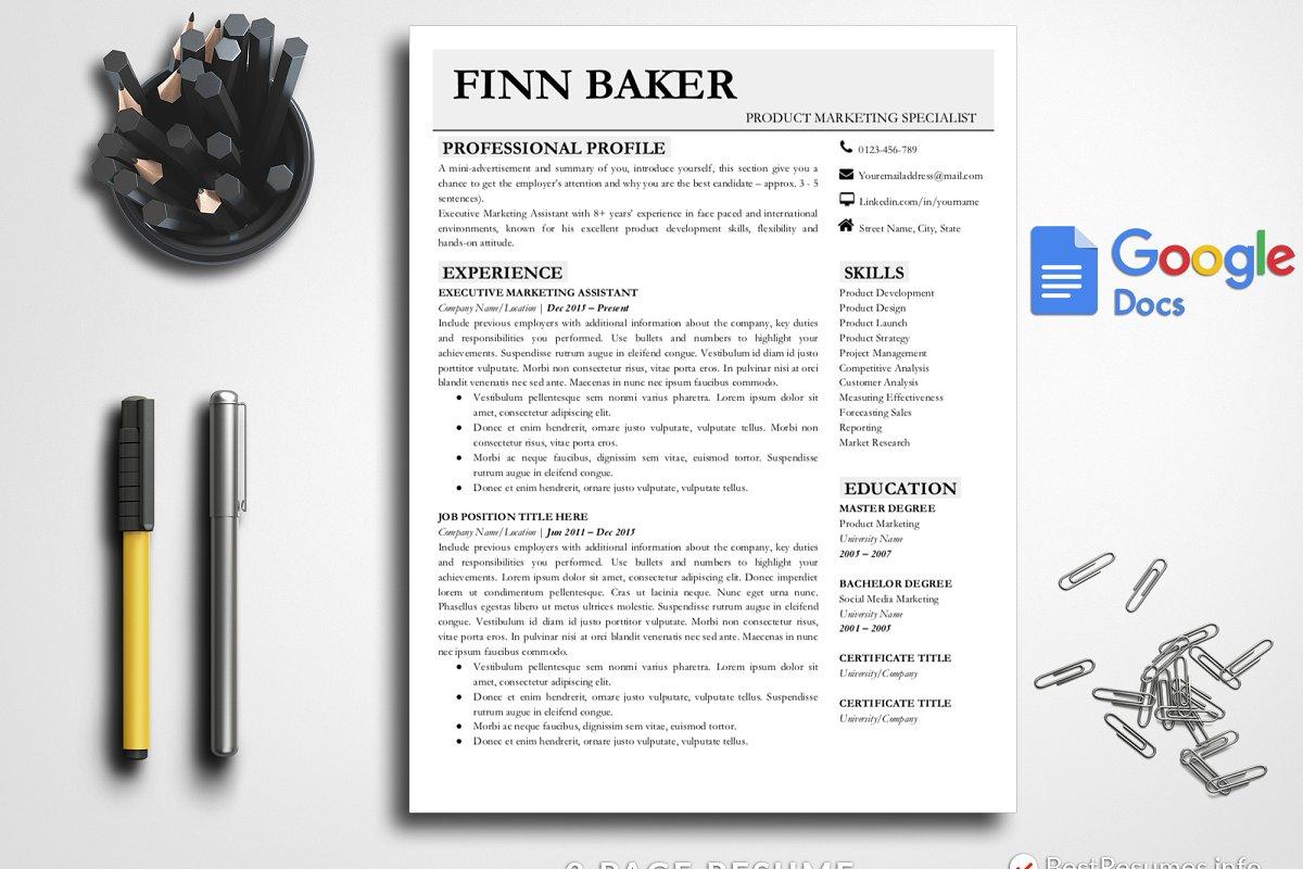 Modern Resume Template Google Docs Templates Creative Market