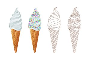 Ice Cream Scoops with Colored vector