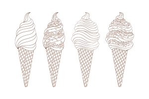 vector set of line drawing ice cream