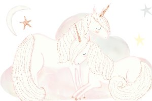 Goodnight Unicorn Watercolor Clipart