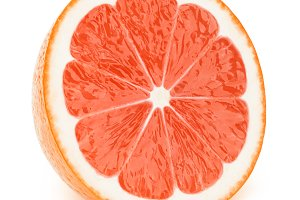 Half of grapefruit slice isolated