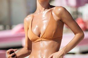 Portrait of young girl in bikini