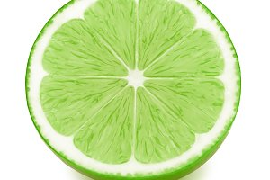 Half of lime fruit slice isolated