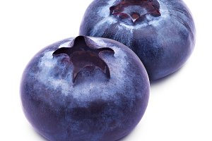 Group of two blueberries isolated on