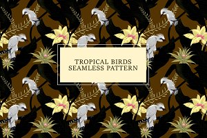Tropical Birds Seamless Pattern