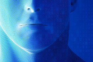 Human face, mouth with data code on
