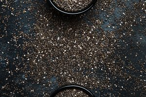 Chia seeds, gray background, top vie