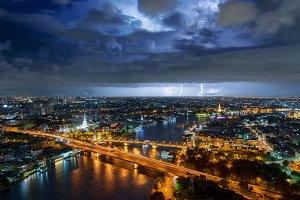 Thunder storm lightning strike over