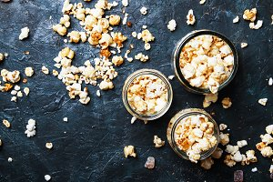 Caramel sweet popcorn, dark backgrou