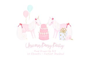 Unicorn Pony Party Clipart