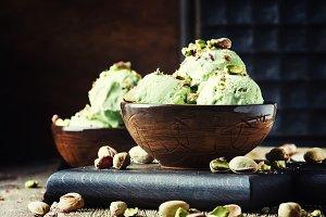 Pistachio ice cream with nuts, decor