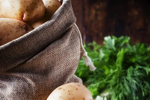 Fresh raw potatoes in a canvas bag,