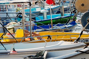 Traditional fishing boats in Paphos