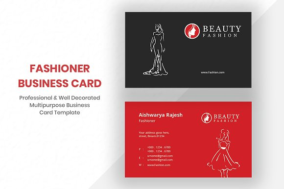 Fashion business card business card templates creative market fashion business card business cards friedricerecipe Images