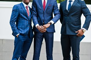 Three african american happy success