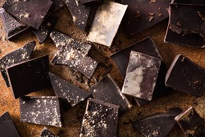 Black chocolate pieces