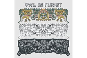 Totemic owl in flight Mayan graphic