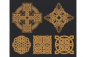 Vector celtic cross and knot set