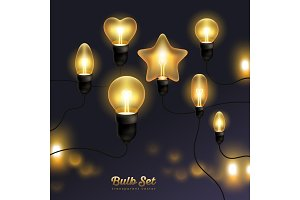 Set of realistic retro bulbs