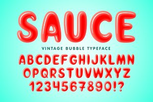 Glossy bubble comical font design