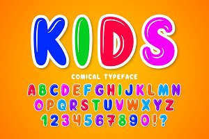 Children bubble comical font design