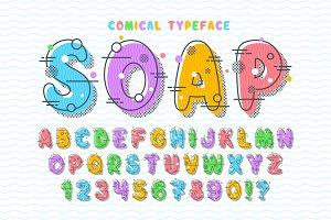 Linear bubble comical font design