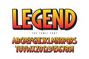 The Legend 3d comical font design