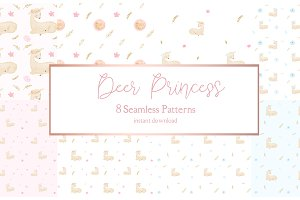 Deer Princess Watercolor Patterns