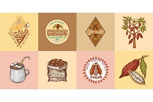 Cocoa and hot chocolate logos