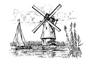 Windmill landscape in vintage, retro