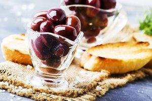 Large greek kalamata olives, gray ba
