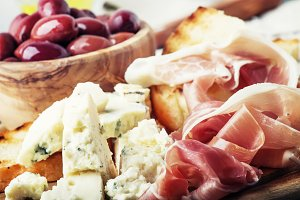 Snacks or antipasti, crostini, prosc