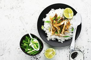 Rice chicken breast bowl with spring
