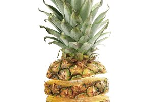 cut ananas isolated on white backgro