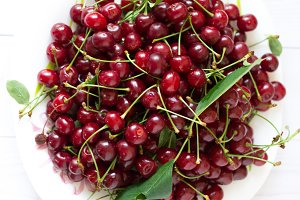 A plate with red cherries is a top v
