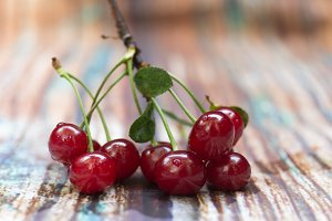 Fresh red cherry. Cherry berries.