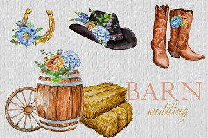 Watercolor Barn Wedding Clipart