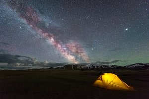Milky Way on Starry Sky and Yellow